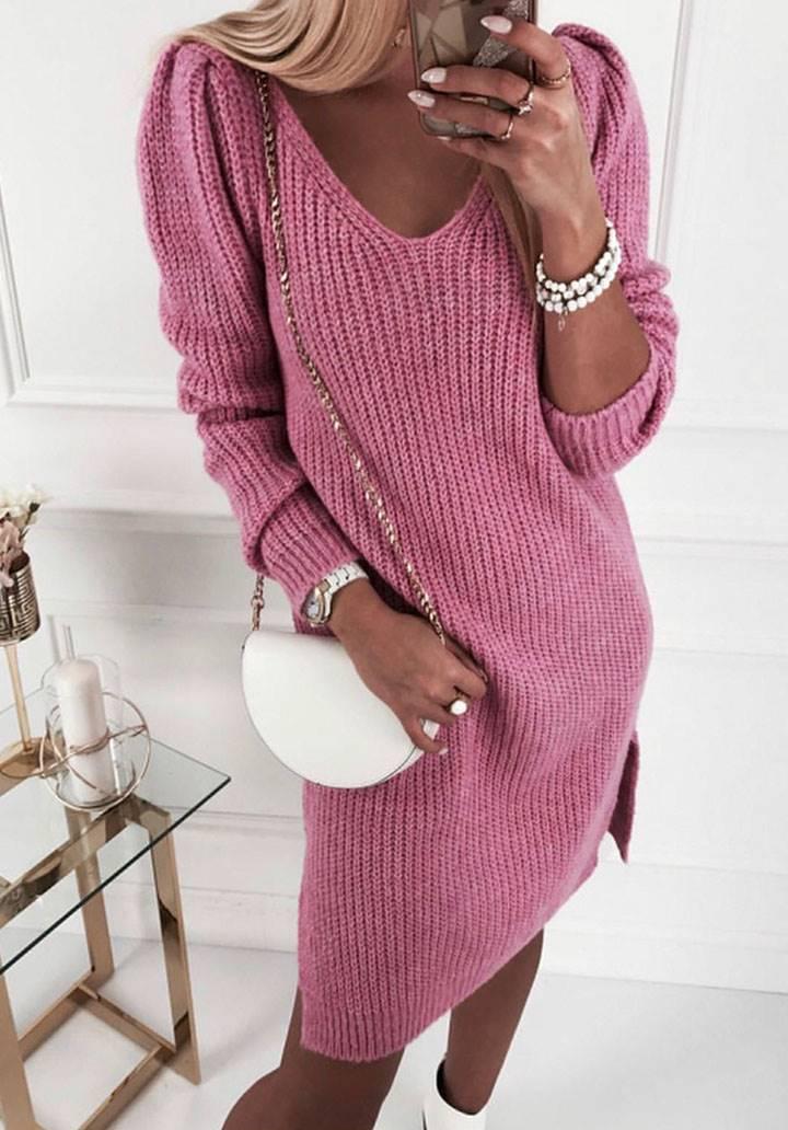 V yaka yırtmaç detay triko elbise(pembe)