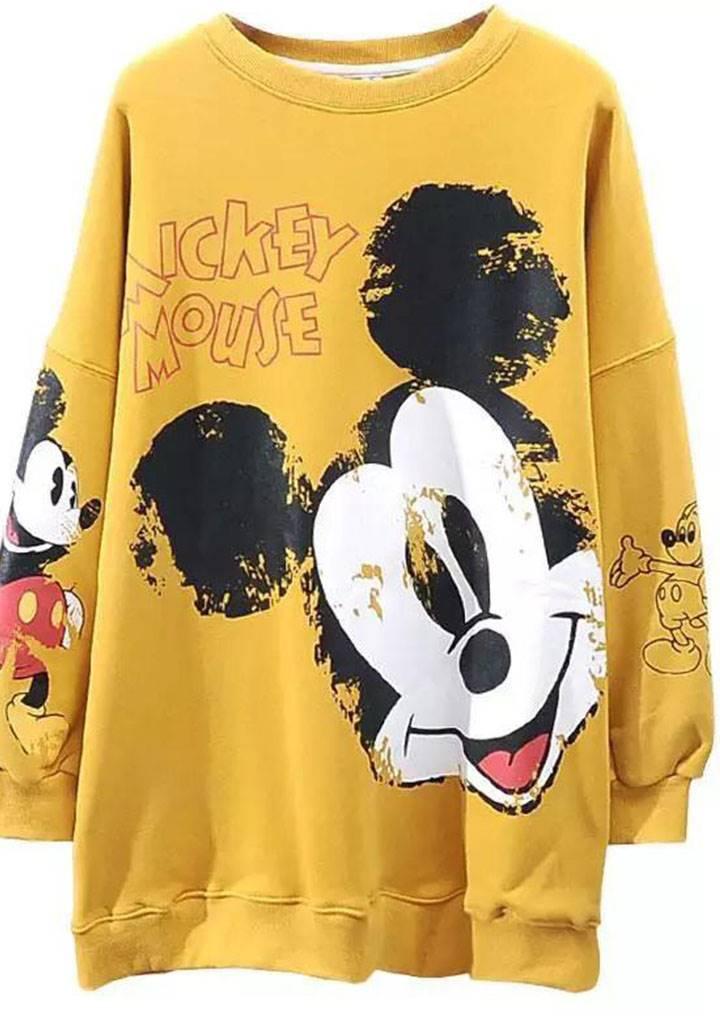 Mickey Mouse İki İplik Sweatshırt(hardal)