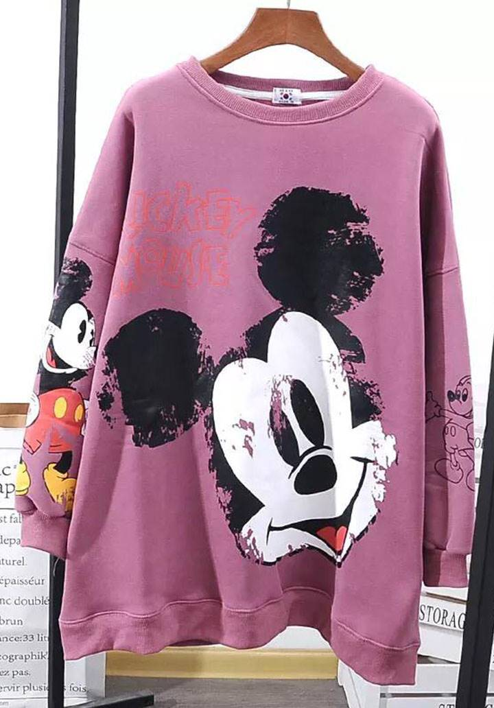 Mickey Mouse İki İplik Sweatshırt(pembe)