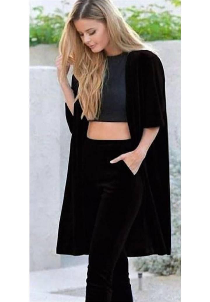 Ceket pantolon kadife ikili takım(Siyah)