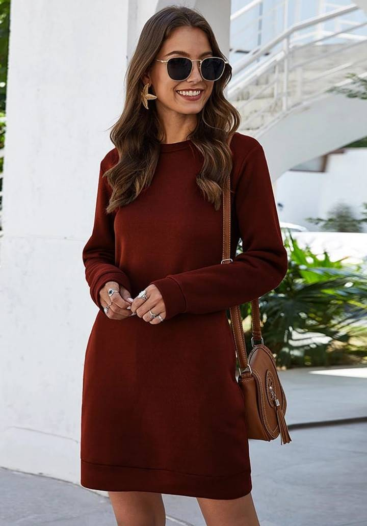 Cep Detay Yün Viscon Elbise(Bordo)