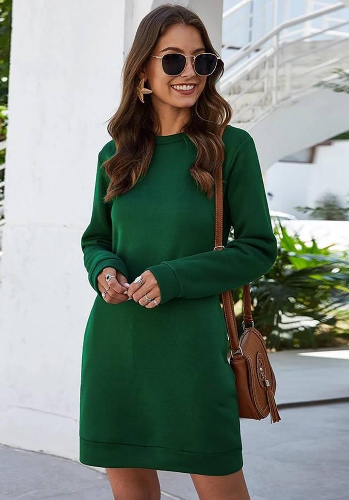 Cep Detay Yün Viscon Elbise(Yeşil)
