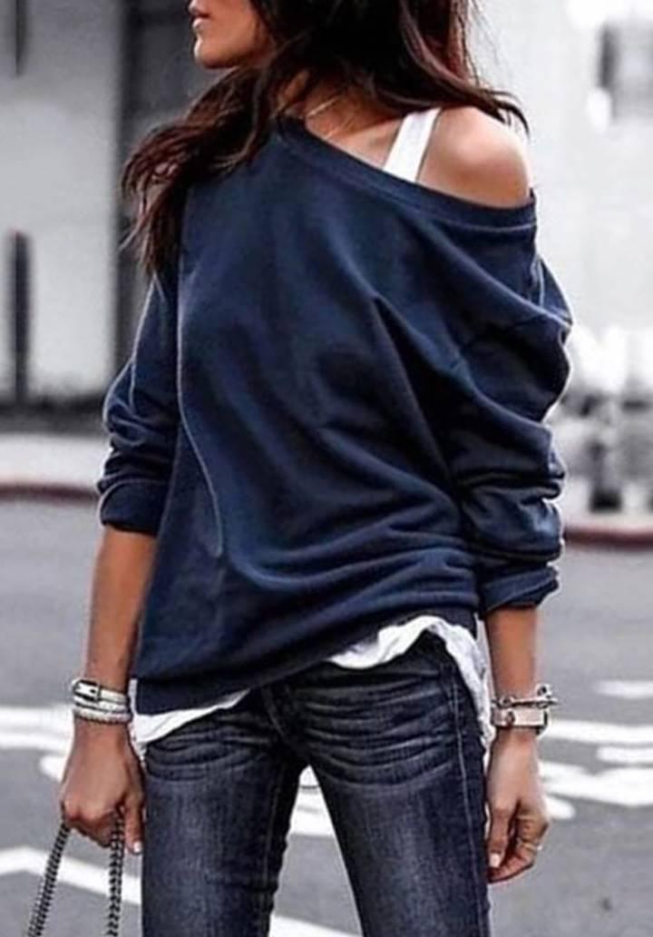 Tek Omuz Askı Detay Salaş Bluz(Lacivert)