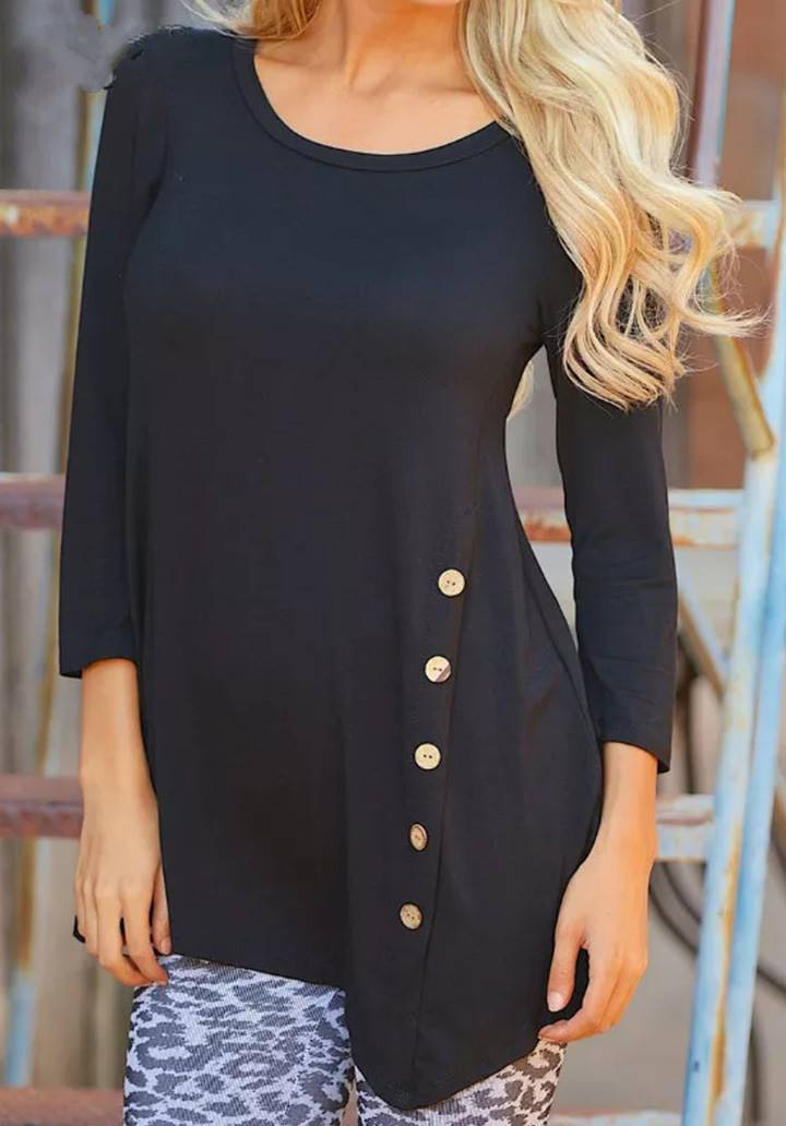 Asimetrik Kesim Düğme Detay Bluz(Siyah)