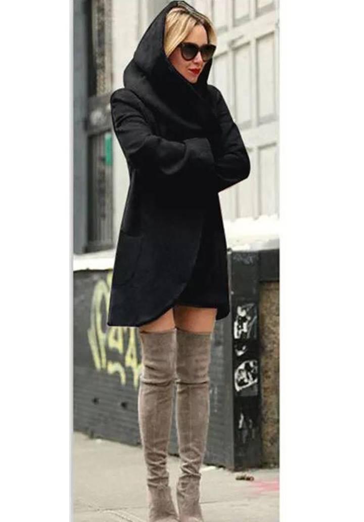 Siyah kapşonlu kaşe şardonlu ceket