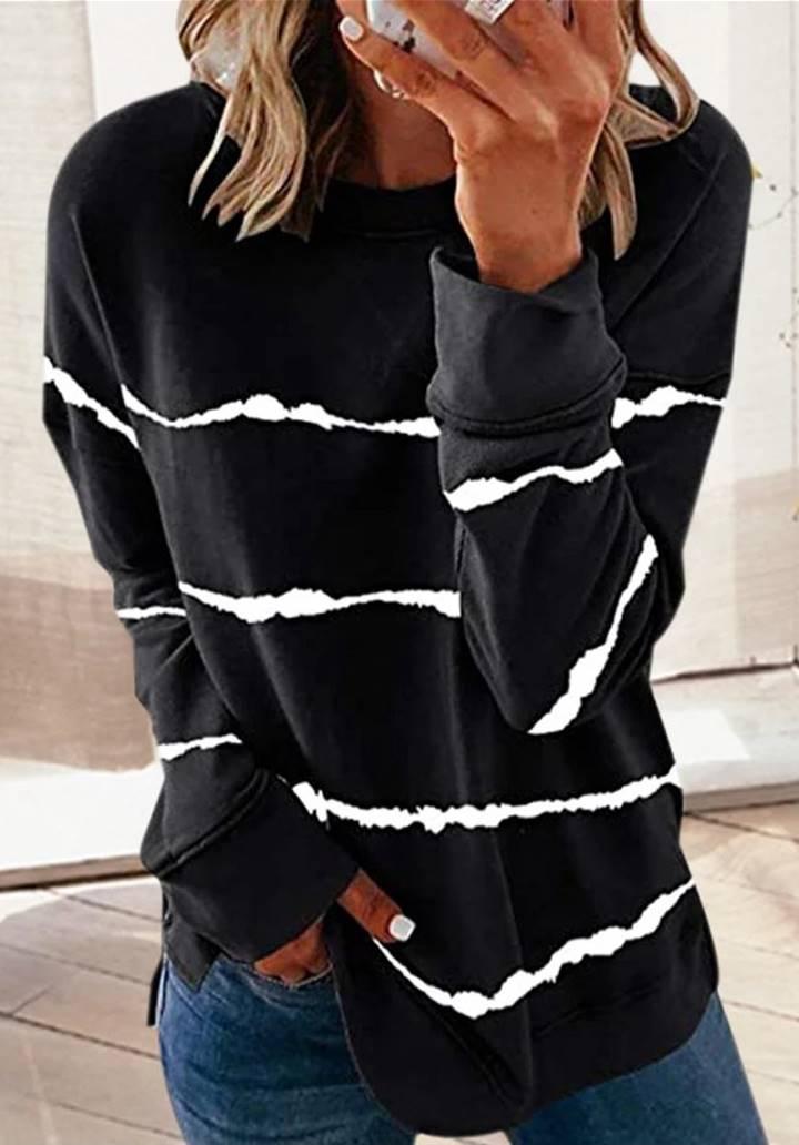 Siyah batik desen sweatshırt