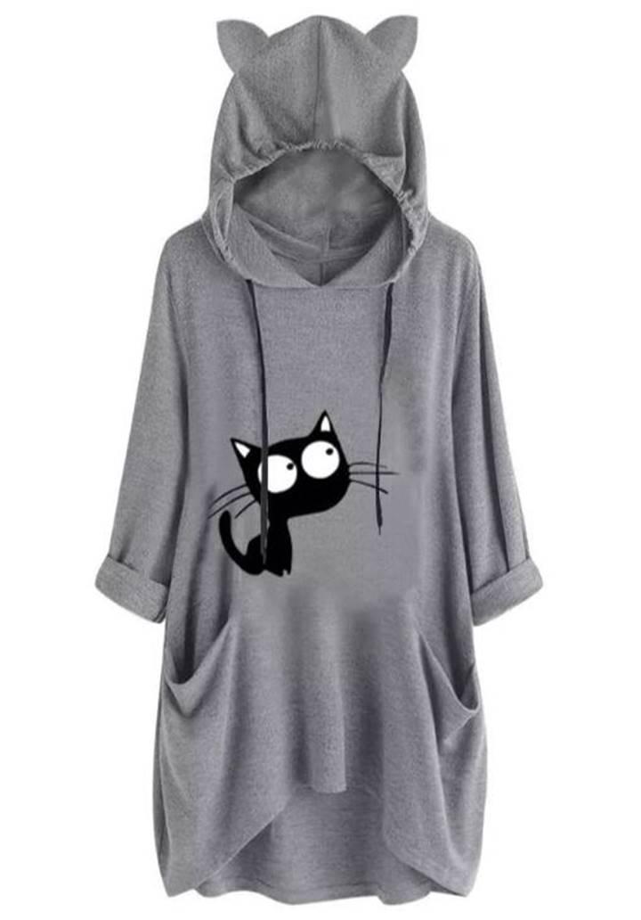 Kedi kulak kapşonlu baskılı spor elbise
