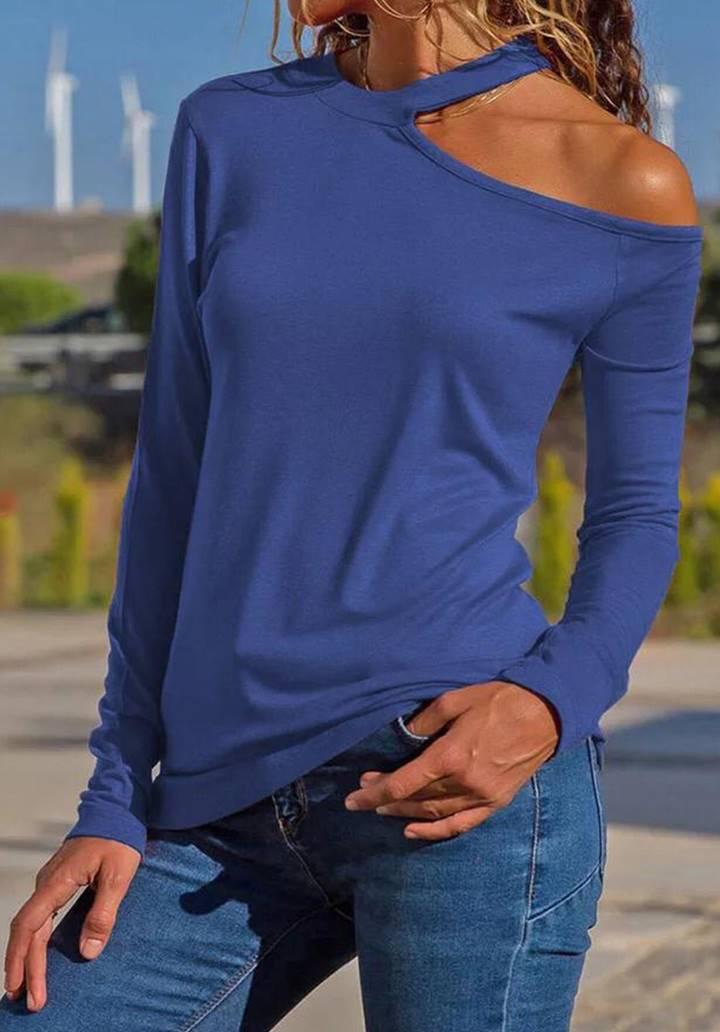Tek omuz dekolteli basic bluz(İndigo)