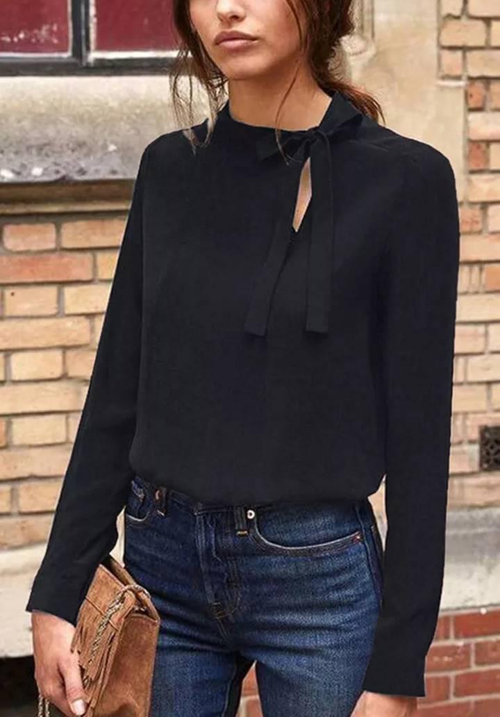 Yaka Fularlı Sandy Bluz(Siyah)