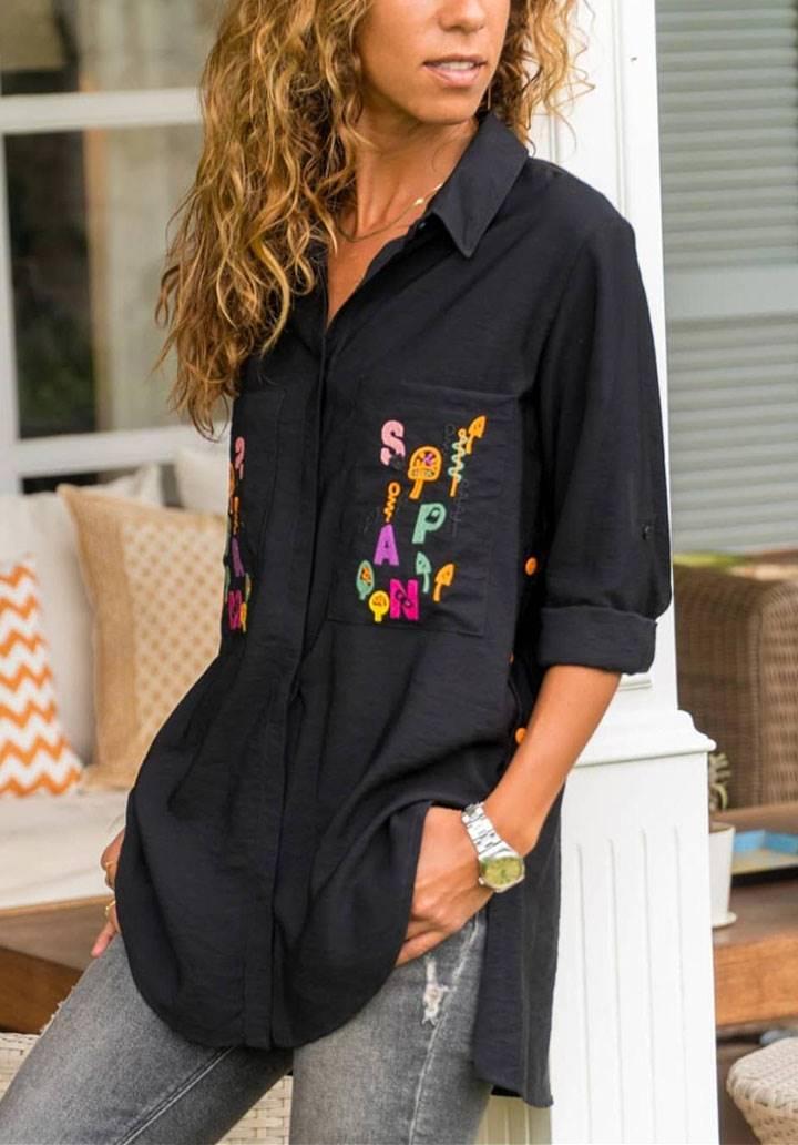 Siyah asimetrik yanı çıtlı gömlek
