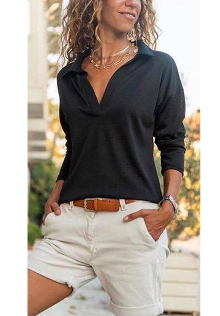 Polo Yaka Basic Bluz (Siyah)
