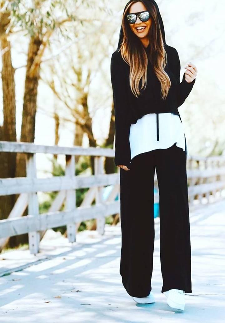 Eteği Tshırt Görünümlü Sweat Pantolon Takım (Siyah)