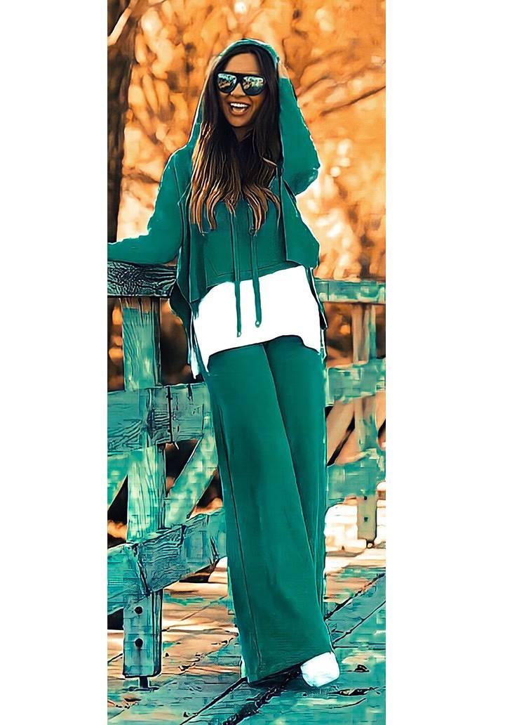 Eteği Tshırt Görünümlü Sweat Pantolon Takım (Yeşil)