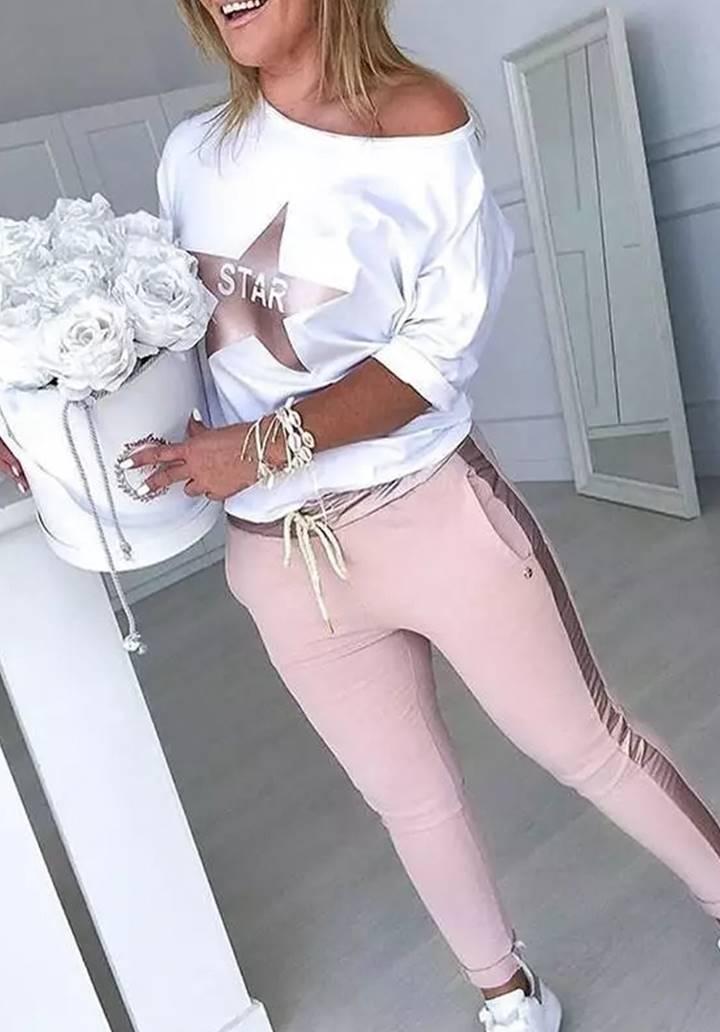 Star Baskılı Bluz Pantolon Takım