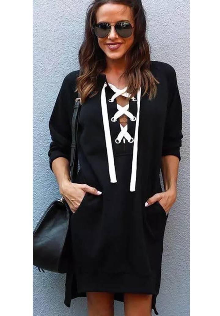 Cepli Bağcık Detay Sweat Elbise(Siyah) - 1