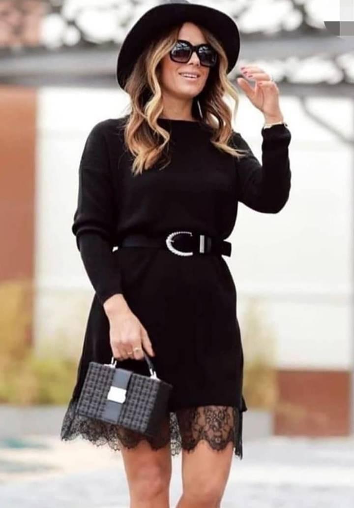Eteği Dantel Detay Kemerli Elbise - 1