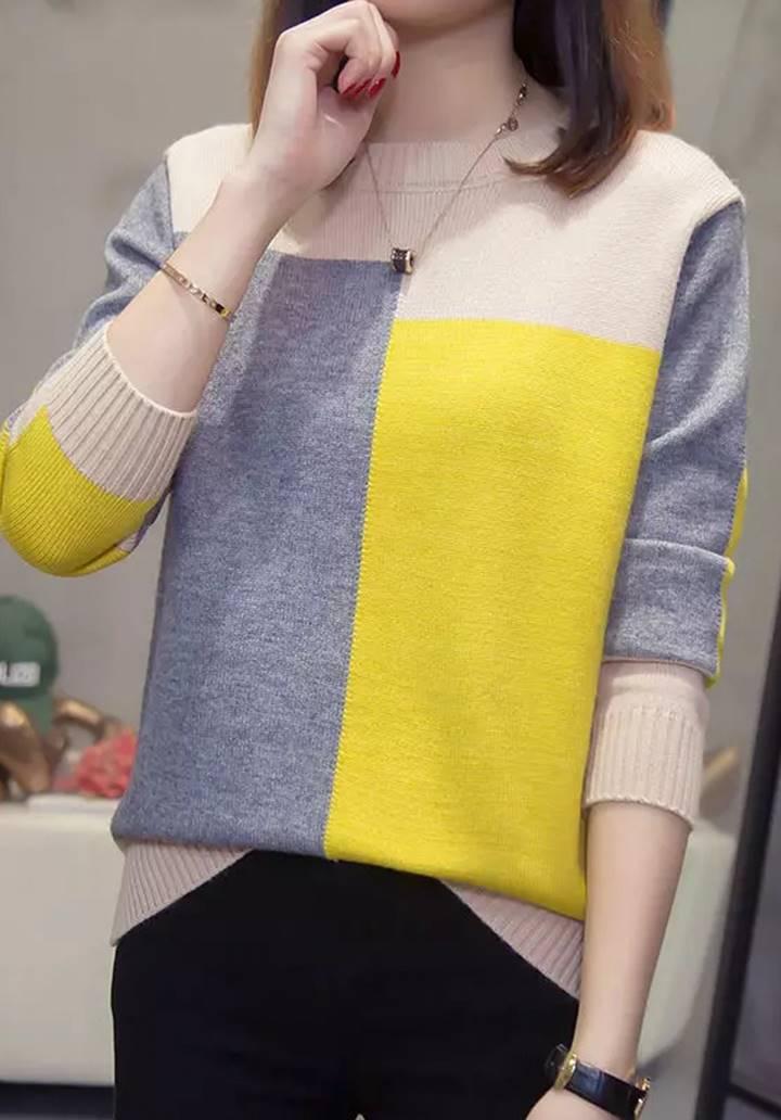 Bej-Sarı Bloglu Triko Kazak