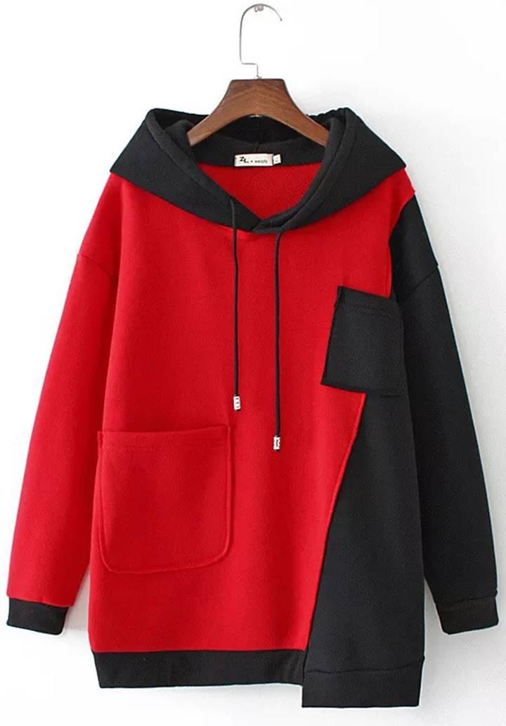 Siyah-Kırmızı Kapşonlu Cep Detay Sweatshırt