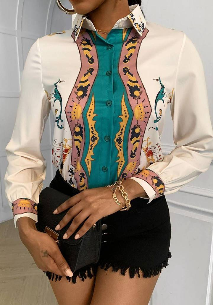 Digital Renkli Baskı Zara Model Gömlek