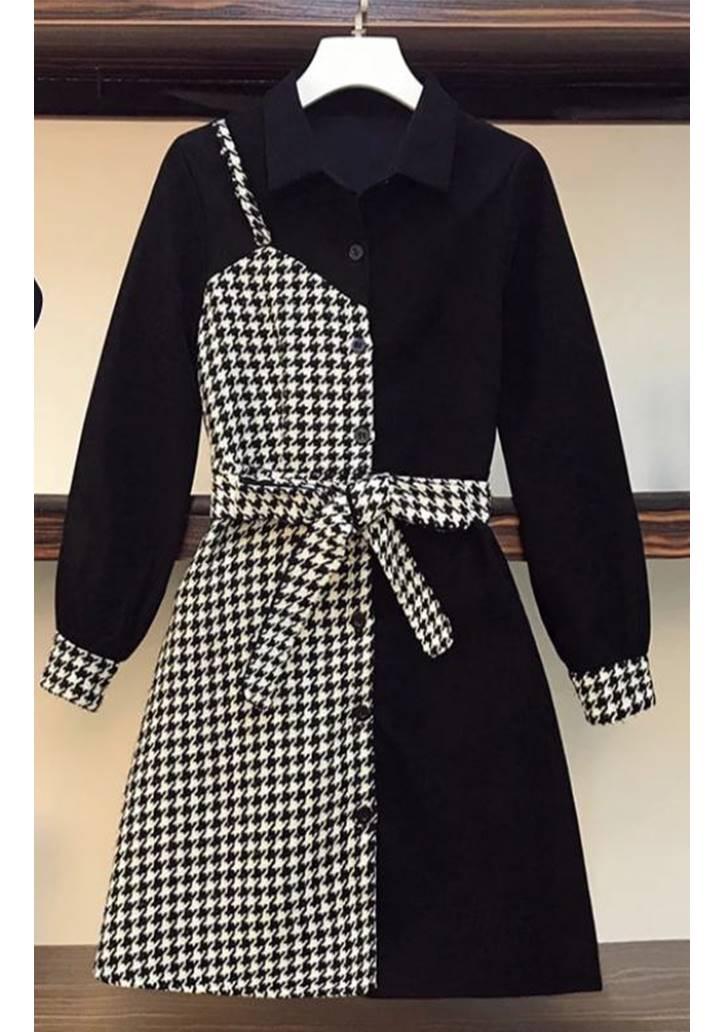 Kazayağı Desen Garnili Tasarım Elbise