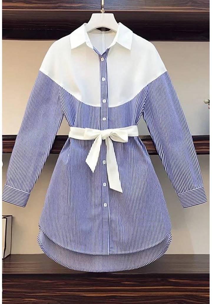 Çizgili Kuşaklı Tunik-Gömlek