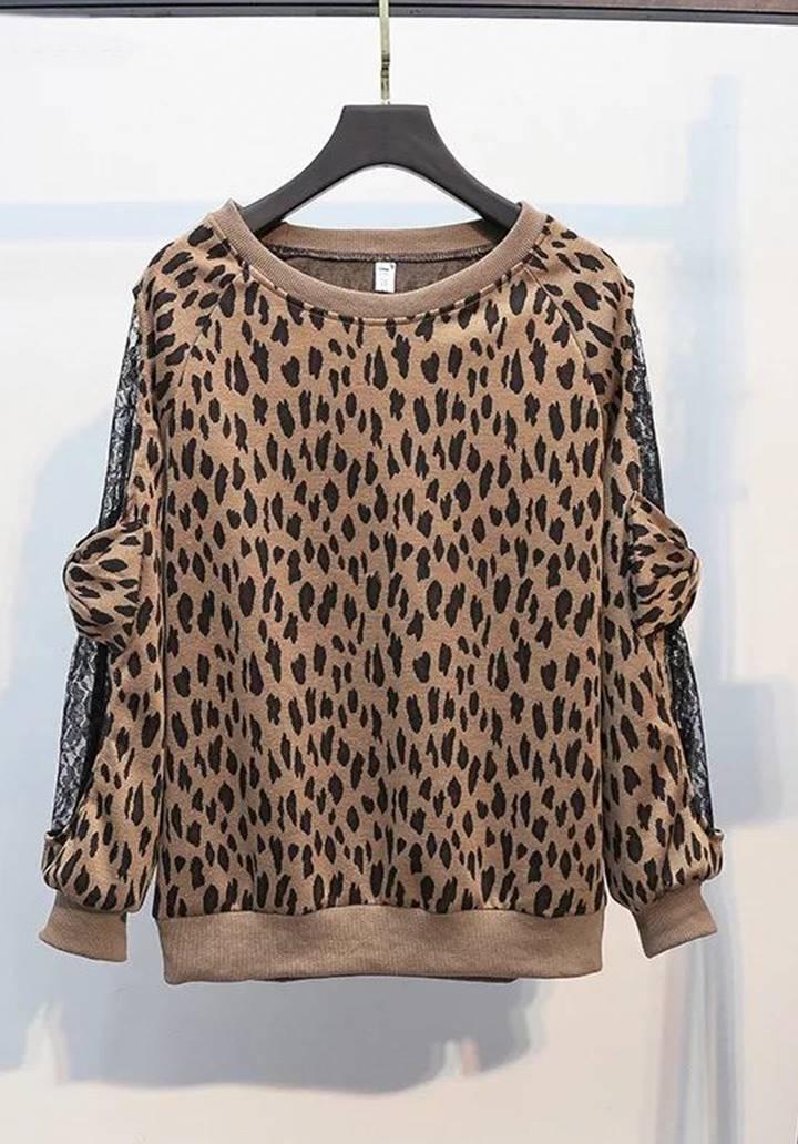 Leopar Desen Kolları Tül Üzeri Fiyonk Detay Bluz