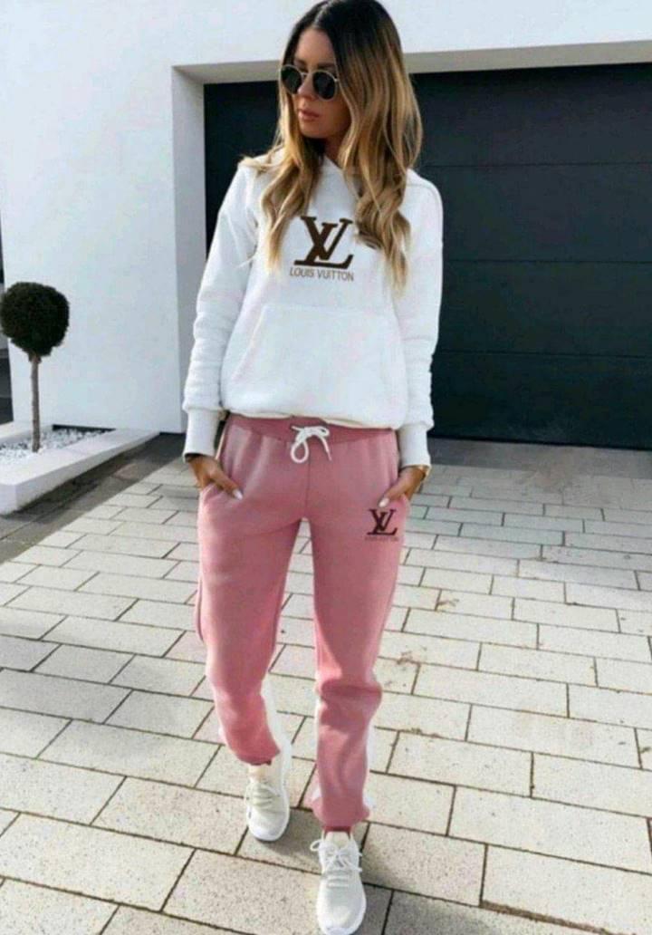 Louis Vuitton Kapşonlu İkili Takım (Pembe)