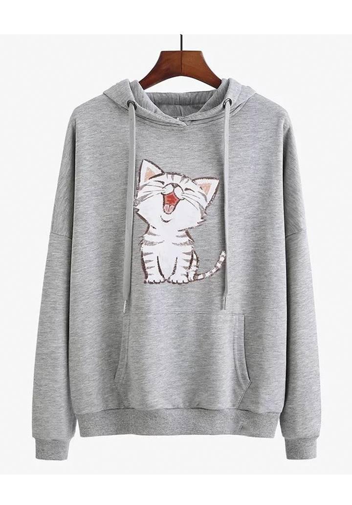 Kapşonlu Şardonlu Kedi Baskılı Sweatshırt (Gri)
