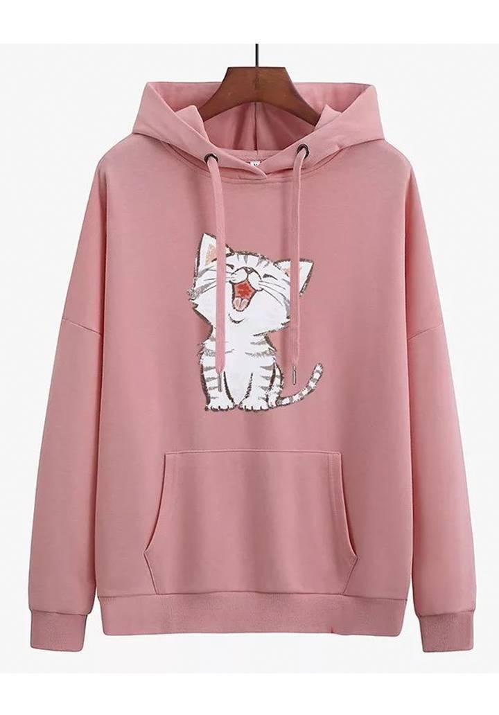 Kapşonlu Şardonlu Kedi Baskılı Sweatshırt (Pembe)