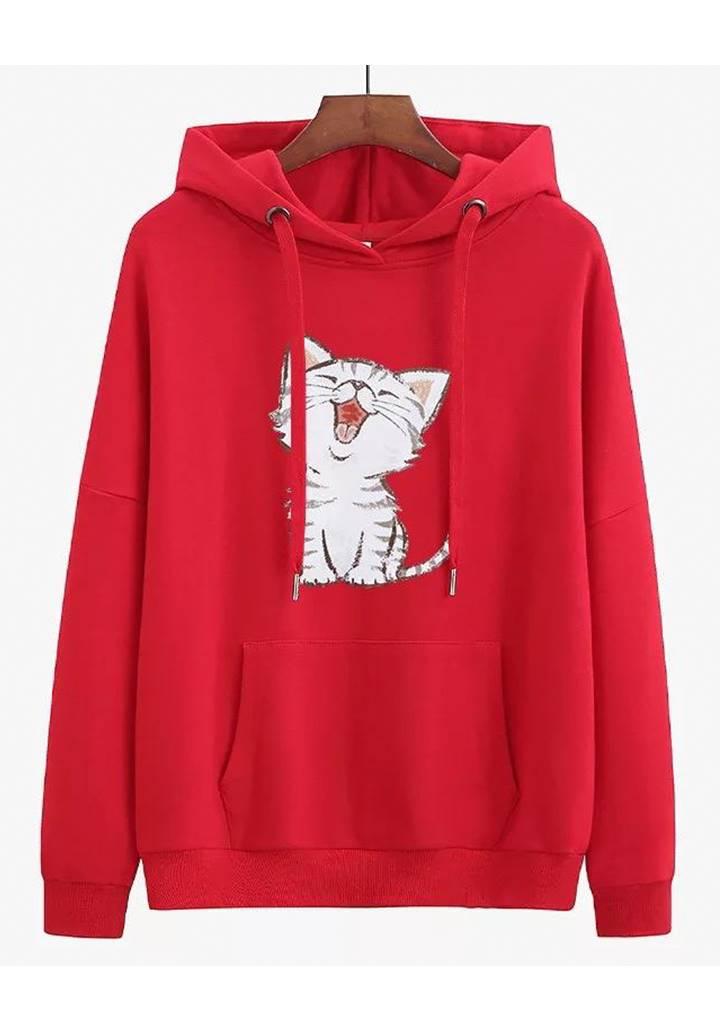 Kapşonlu Şardonlu Kedi Baskılı Sweatshırt (Kırmızı)
