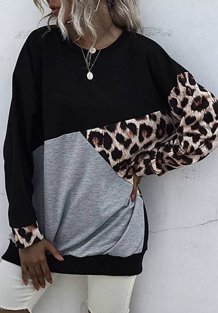 Leopar Bloglu İki İplik Sweat