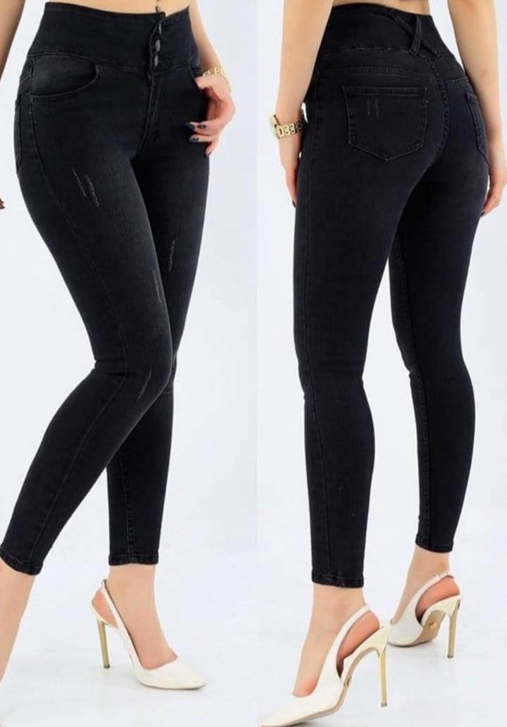Siyah Yüksek Bel Dar Paça Jean Pantolon