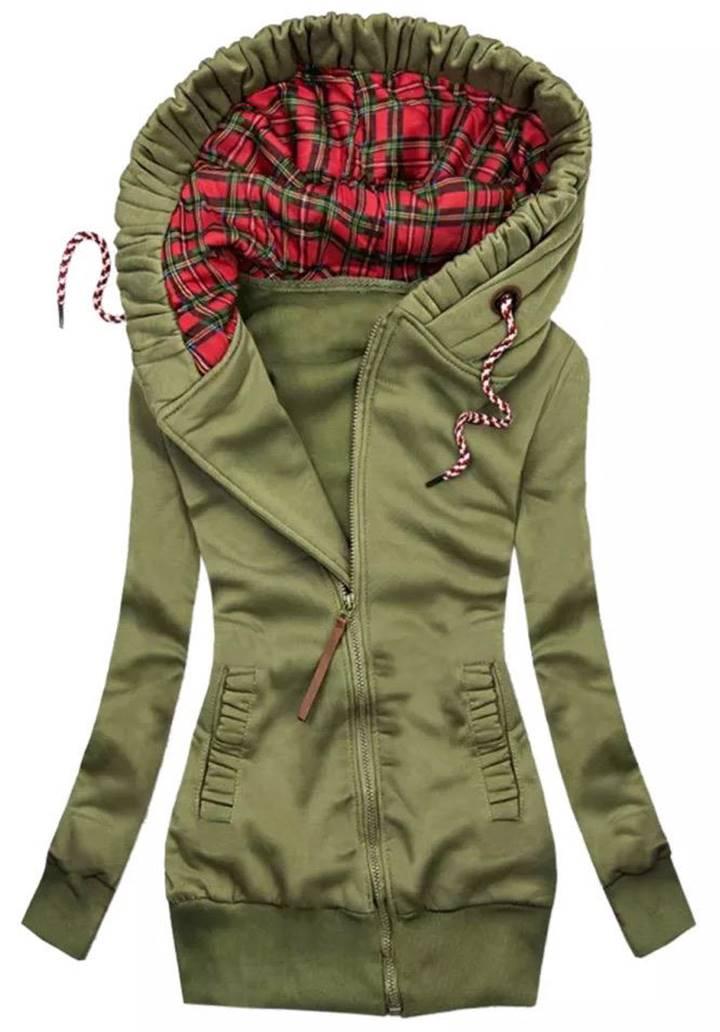 Kapşonlu Cepli Üç İplik Şardonlu Ceket (Haki)