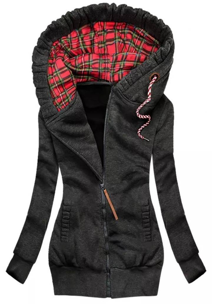 Kapşonlu Cepli Üç İplik Şardonlu Ceket (Antrasit)