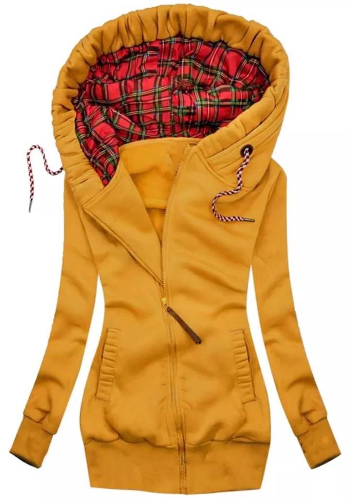 Kapşonlu Cepli Üç İplik Şardonlu Ceket (Hardal)