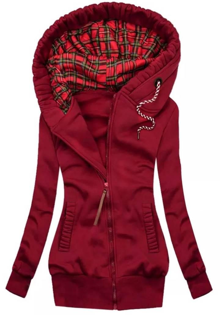 Kapşonlu Cepli Üç İplik Şardonlu Ceket (Bordo)
