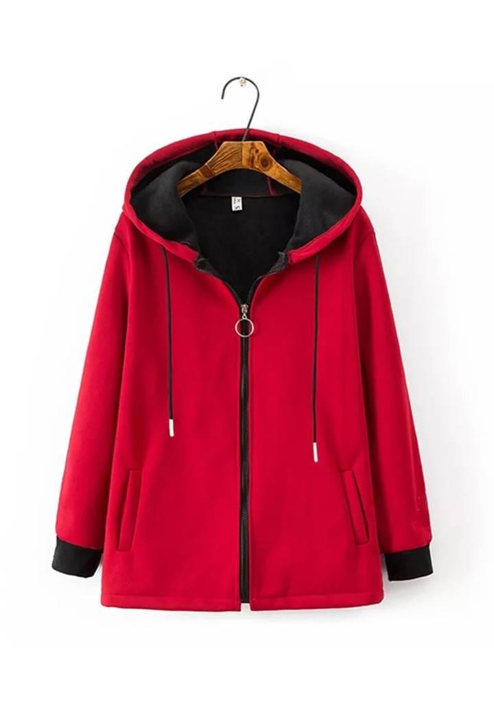 Kapşonlu Kolları Biyeli Şardonlu Ceket (Kırmızı)