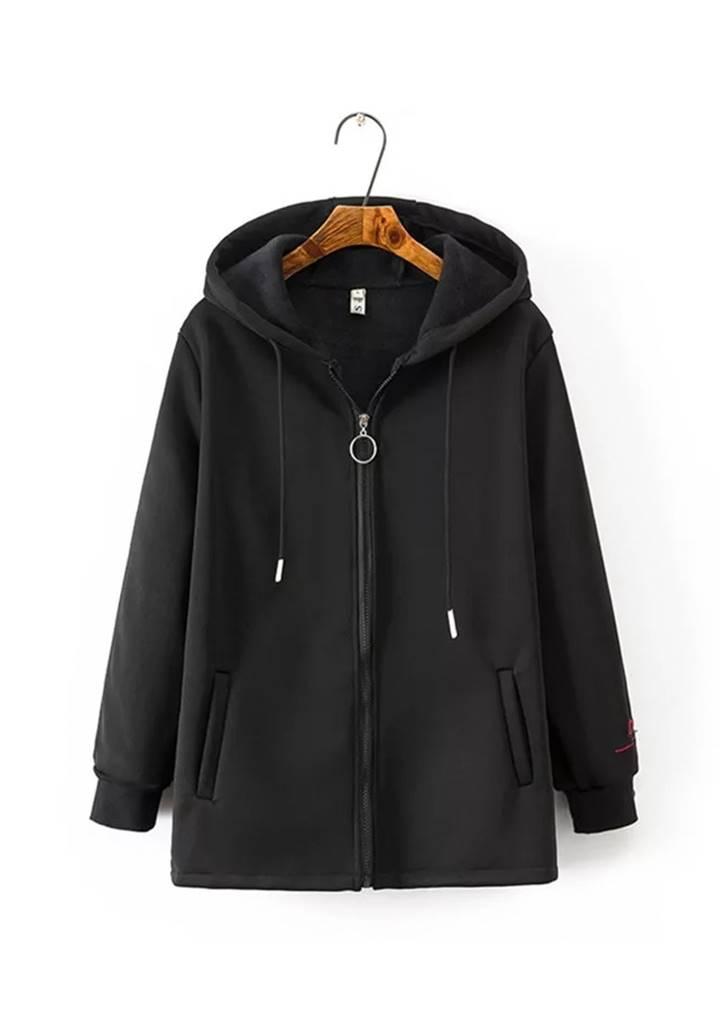 Kapşonlu Kolları Biyeli Şardonlu Ceket (Siyah)