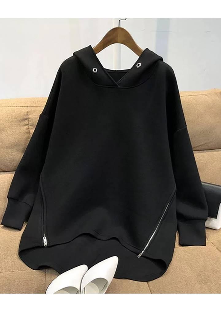 Yanları Fermuarlı Kuşgözü Detay Tunik (Siyah)