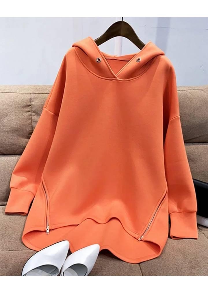 Yanları Fermuarlı Kuşgözü Detay Tunik (Orange)