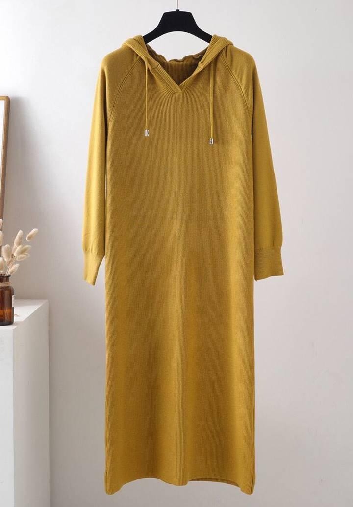 Kapşonlu Fitilli Triko Basic Elbise (Hardal)