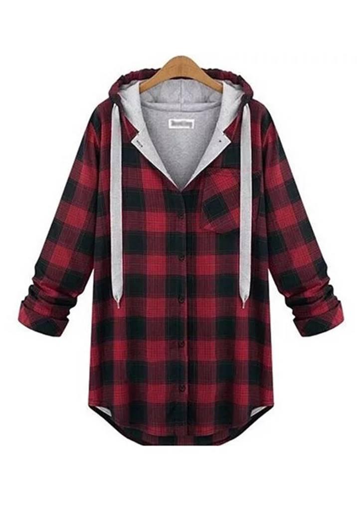 Kapşonlu Oduncu Tunik Gömlek (Kırmızı-Siyah)