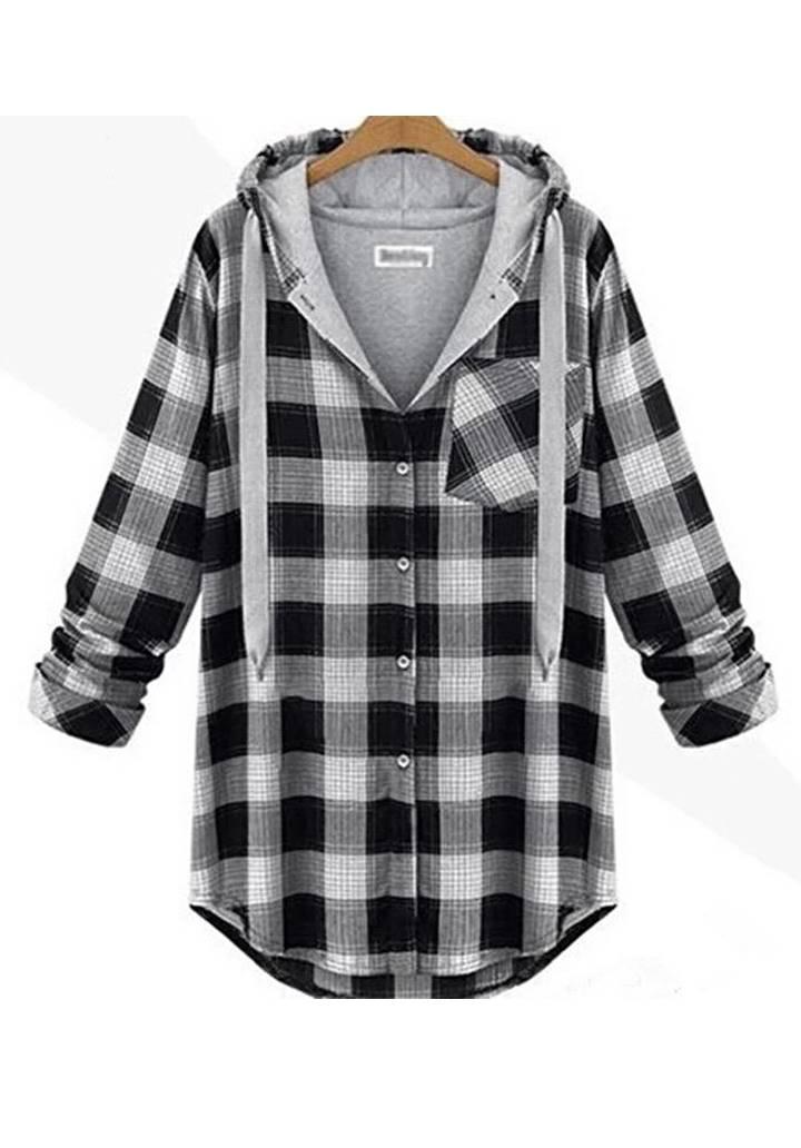Kapşonlu Oduncu Tunik Gömlek (Gri-Siyah)