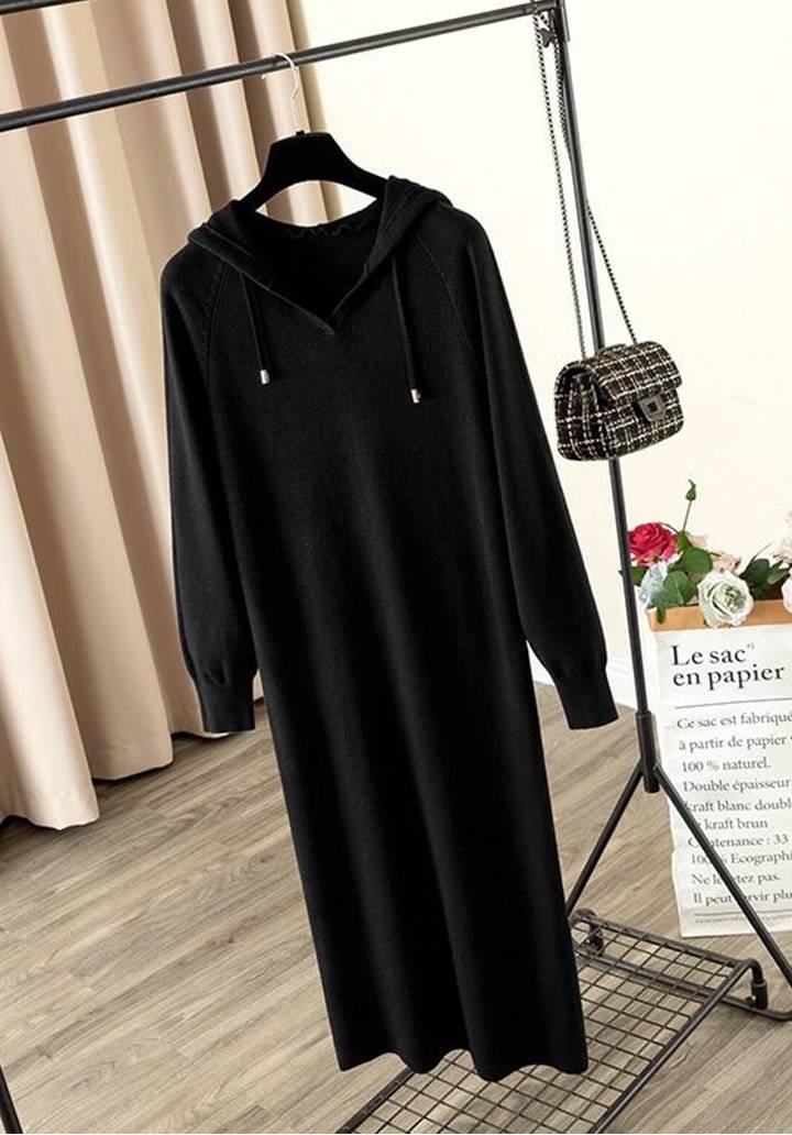Kapşonlu Fitilli Triko Basic Elbise (Siyah)