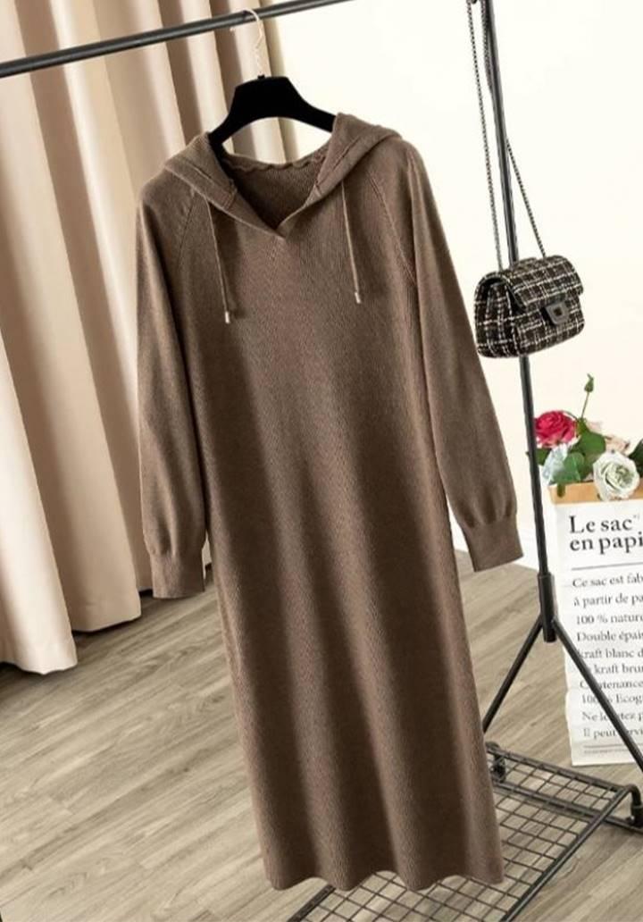 Kapşonlu Fitilli Triko Basic Elbise (Kahverengi)