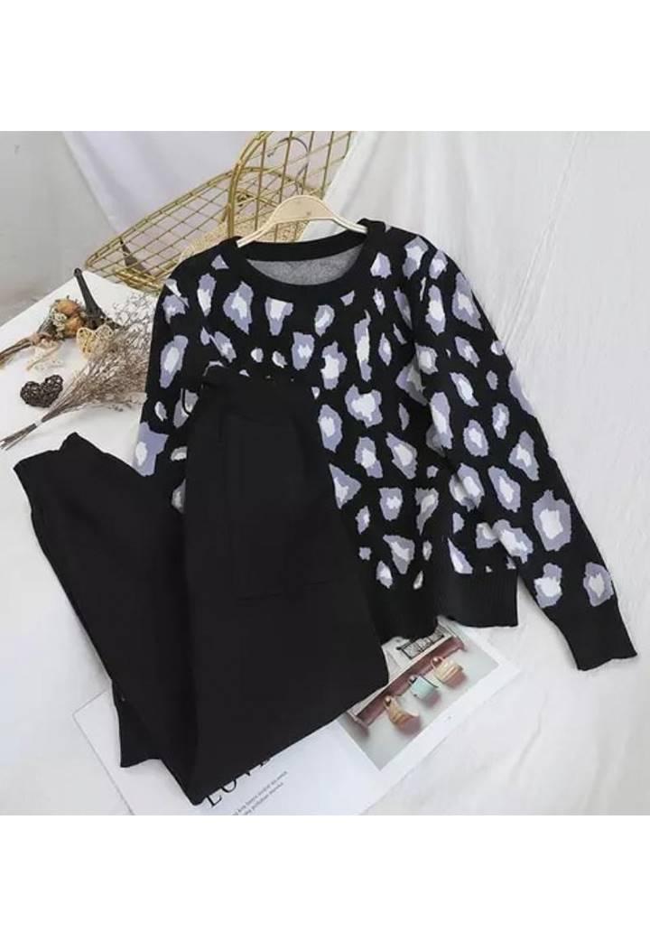 Leopar Desen Kazak Pantolon Triko İkili Takım (Siyah)