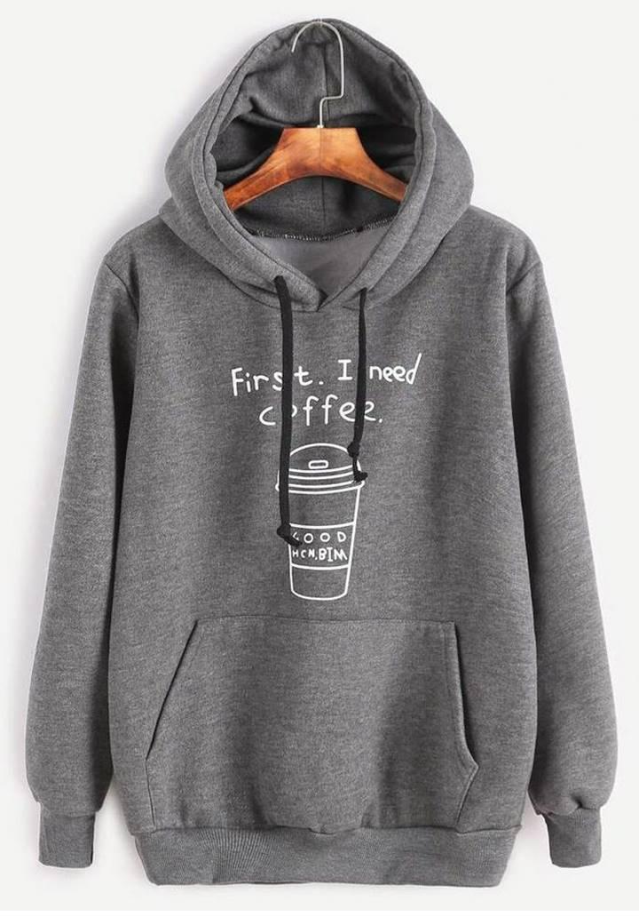 Kapşonlu İçi Şardonlu Coffee Sweatshırt (Gri)