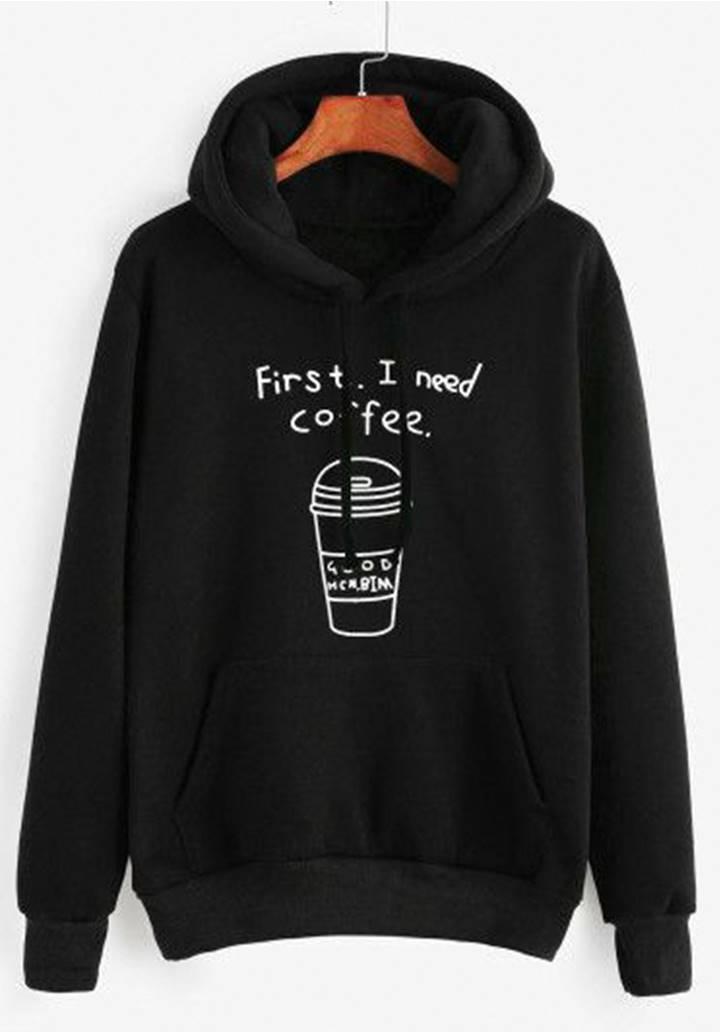 Kapşonlu İçi Şardonlu Coffee Sweatshırt (Siyah)
