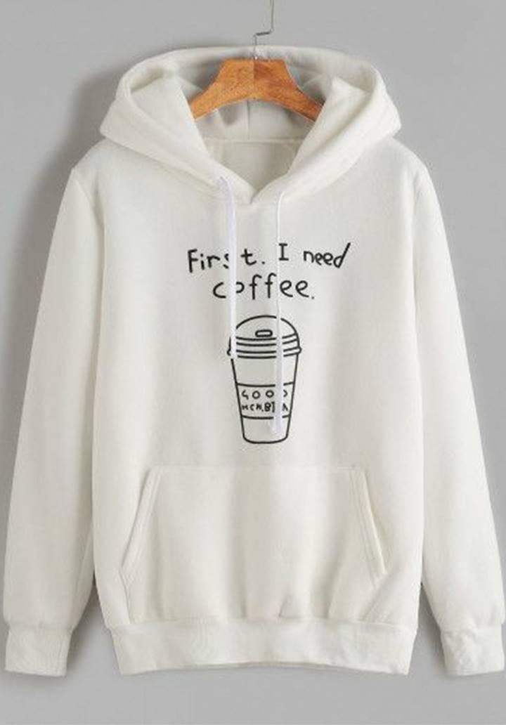 Kapşonlu İçi Şardonlu Coffee Sweatshırt (Ekru)