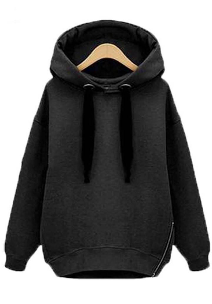 Fermuar Detay Kapşonlu Şardonlu Sweatshırt(Siyah)